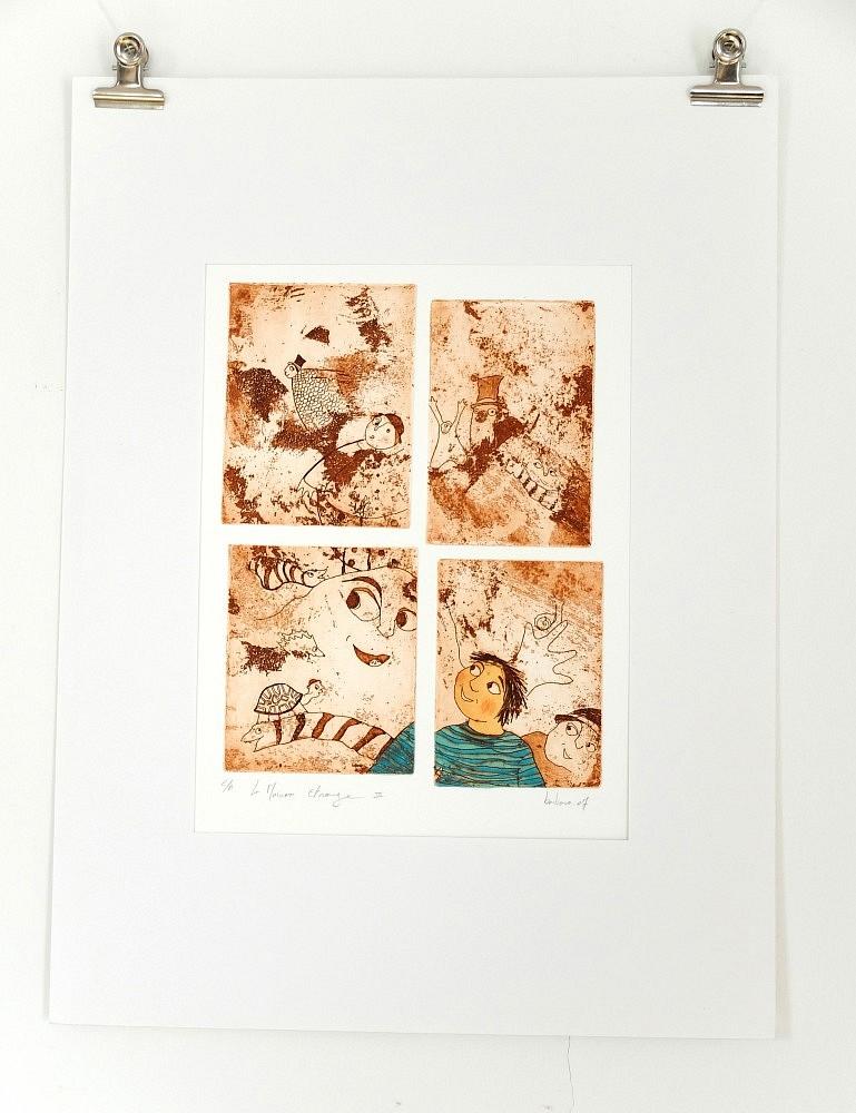 Série de la maison étrange - 3 | ref-G-005-2014,<br/>Gravure  imprimée en terre de sienne, rehaussée à la gouache - Format 26,50 x 38 cm<br/> Prix de vente 120€ + 5€ de frais d'expédition