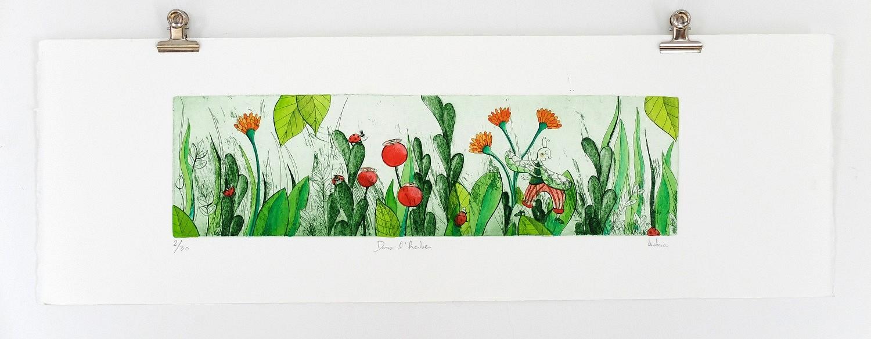 Dans l'herbe ( Cette estampe est vendue) | ref-G-010-2015,<br/>Gravure  imprimée en vert, rehaussée à la gouache- Format 19 x 57 cm<br/> Prix de vente 120€ + 8€ de frais d'expédition