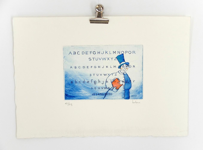 Personnage et abécédaire | ref-G-015-2014,<br/>Gravure  imprimée en bleu de Prusse - Format 19,5 x 28 cm<br/> Prix de vente 25€ + 5€ de frais d'expédition