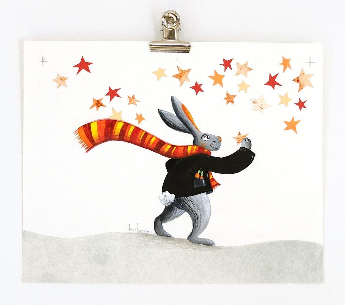 Le lapin et les étoiles | ref-I-003-2010,<br/>Illustration originale - Format 22 x 18 cm<br/> Prix de vente 50€ + 5€ de frais d'expédition