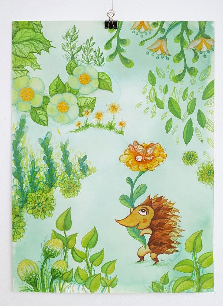 Un hérisson, un papillon au milieu de fleurs vertes | ref-I-017-2020, Illustration originale - Format 30 x 42 cm  Prix de vente 80€ + 8€ de frais d'expédition