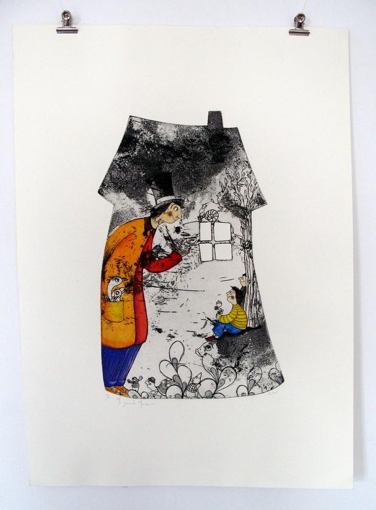 Grande-maison-G-021-2013   ref-G-021-2013,<br/>Gravure  imprimée en noir + couleur à la gouache - Format 49 x 70 cm<br/> Prix de vente 155€ + 15€ de frais d'expédition