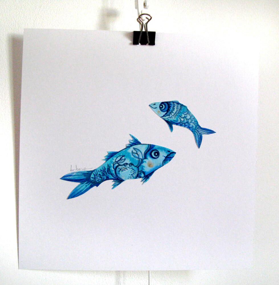 deux poissons   ref-I-3-ete-2021, Illustration originale - Format 21 x 21 cm  Prix de vente 15 + 5€ de frais d'expédition