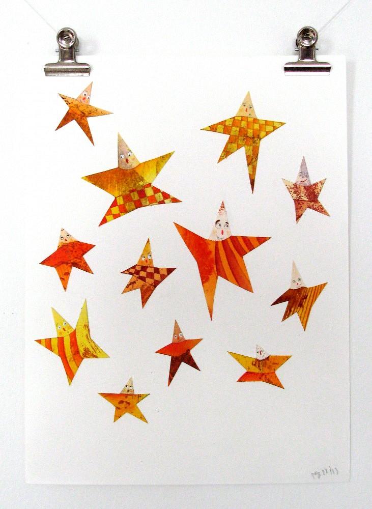 etoiles-I-006-2010   ref-G-006-2012,<br/>Illustration originale - Format 32 x 44 cm<br/> Prix de vente 20€ + 5€ de frais d'expédition