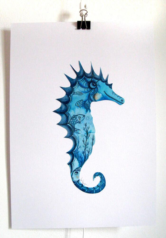 hippocampe   ref-I-1-ete-2021, Illustration originale - Format 29,7 x 21 cm  Prix de vente 40€ + 5€ de frais d'expédition