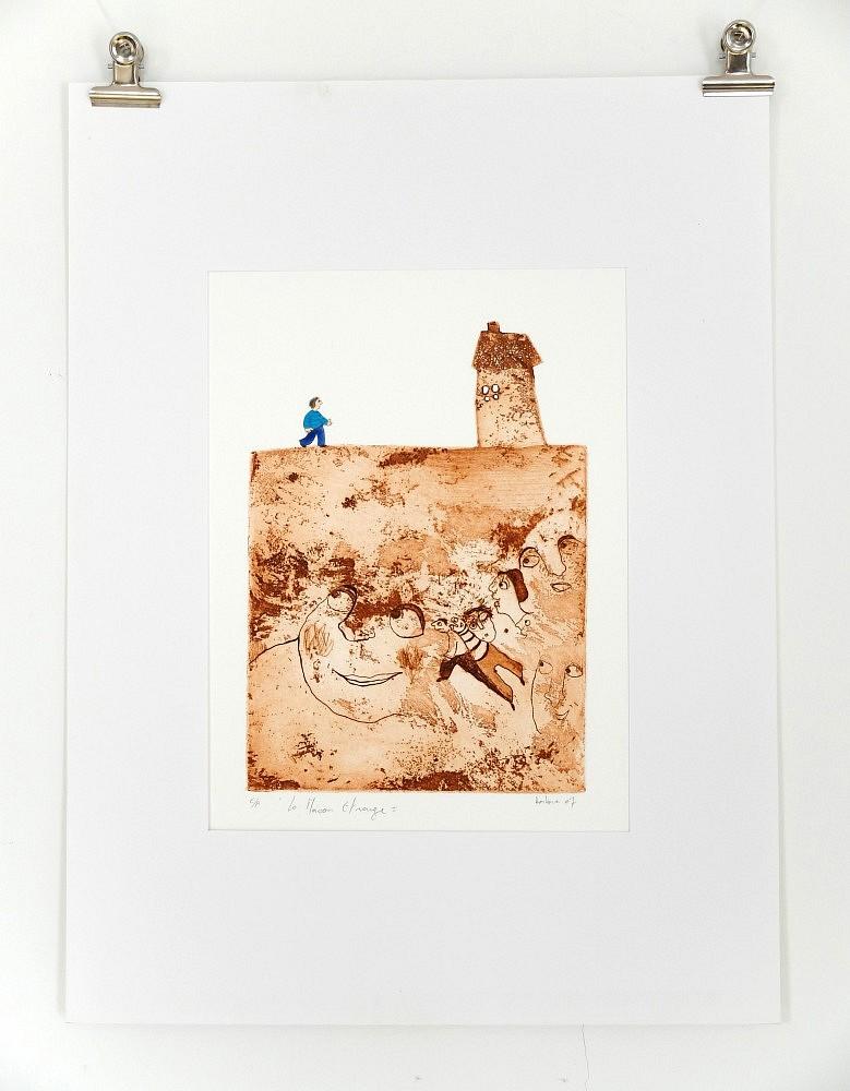 Série de la maison étrange - 1   ref-G-003-2014,<br/>Gravure  imprimée en terre de sienne, rehaussée à la gouache - Format 26,50 x 38 cm<br/> Prix de vente 80€ + 5€ de frais d'expédition