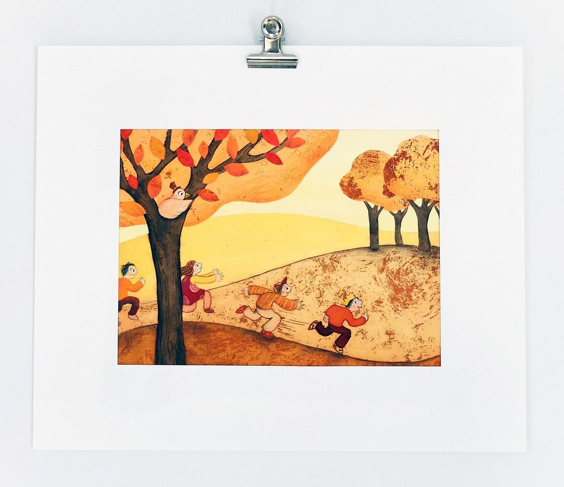 La course et la couronne   ref-I-004-2010,<br/>Illustration originale - Format 29 x 24 cm<br/> Prix de vente 30€ + 5€ de frais d'expédition