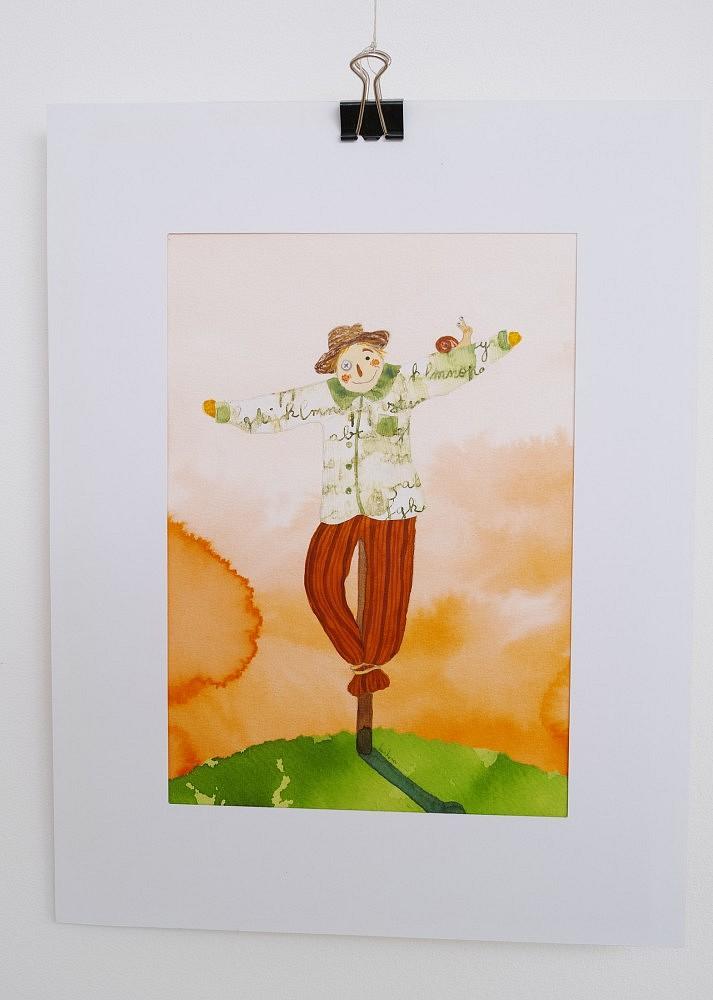 L'épouvantail   ref-I-016-2010, Illustration originale - Format 12 x 18 cm + passe partout Prix de vente 35€ + 5€ de frais d'expédition