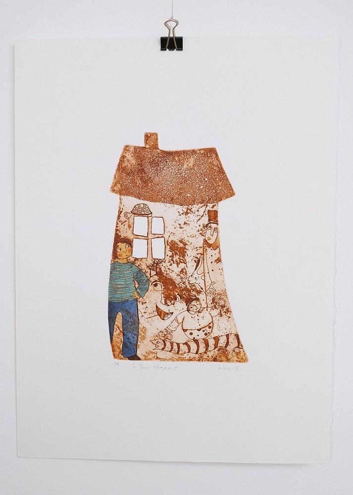 Série de la maison étrange - 2   ref-G-004-2014,<br/>Gravure  imprimée en terre de sienne, rehaussée à la gouache - Format 26,50 x 38 cm<br/> Prix de vente 80€ + 5€ de frais d'expédition